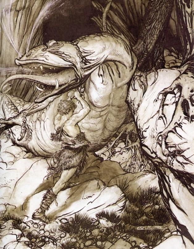 Sigurd slays the dragon Fafnir in this illustration by Arthur Rackham