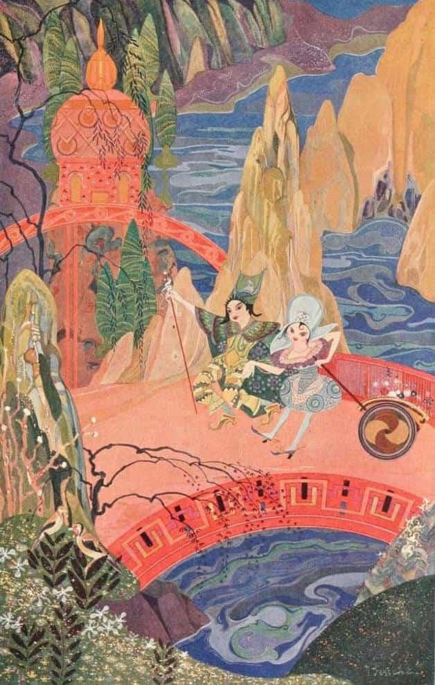 """Jan and Jannette."" Illustration by Jean de Bosschère. Published in Folk Tales of Beasts and Men by Jean de Bosschère (1918). Dodd, Mead and Company."