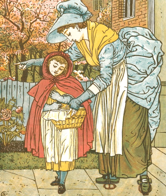 """Little Red Riding-Hood set out immediately to go to her grandmother, who lived in another village."" Illustration by Walter Crane. Published in Little Red-Riding Hood by Walter Crane (1875), George Routledge and Sons."