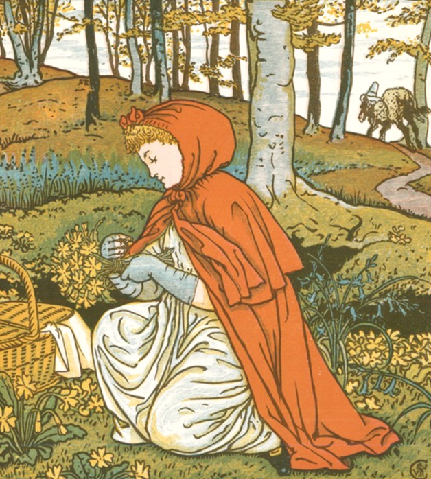 """The little girl went by that farthest about, diverting herself in gathering nuts, running after butterflies, and making nosegays of such little flowers as she met with. "" Illustration by Walter Crane. Published in Little Red-Riding Hood by Walter Crane (1875), George Routledge and Sons."