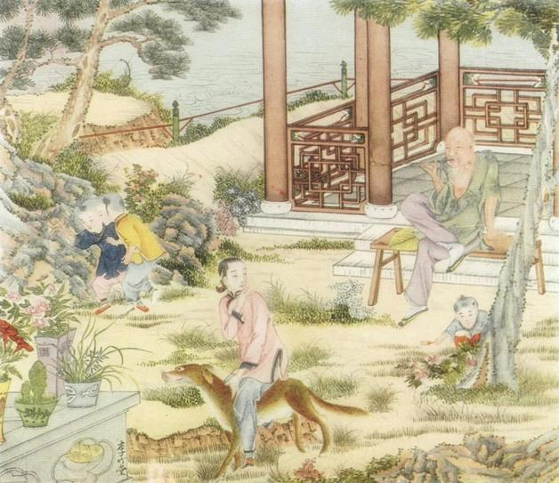 """""""Standing directly in front of him was Dr. Dog, and lo, riding on his back, clinging to the animal's shaggy hair, was Honeysuckle, his long-lost daughter; while standing near by were three of the handsomest boys he had ever set eyes upon!"""" Illustration by Li Chu-T'ang. Published in A Chinese Wonder Book (1919). E.P. Dutton and Company."""