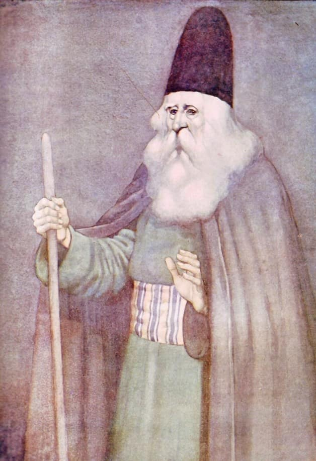 """There arived a great sage versed in the wisdom of the philosophers."" Illustration by Monro S. Orr, published in Olcott's Arabian Nights by Frances Jenkins Olcott (1913), Henry, Holt and Company."