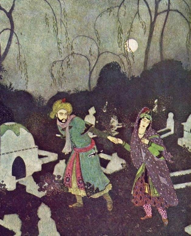 """As I had promised I prepared to do as I was told, and giving my hand to the lady, I escorted her, by the light of the moon, to the place of which the prince had spoken."" Illustration by Edmund Dulac, published in Sinbad the Sailor & Other Stories from the Arabian Nights (1907), Weathervane Books"