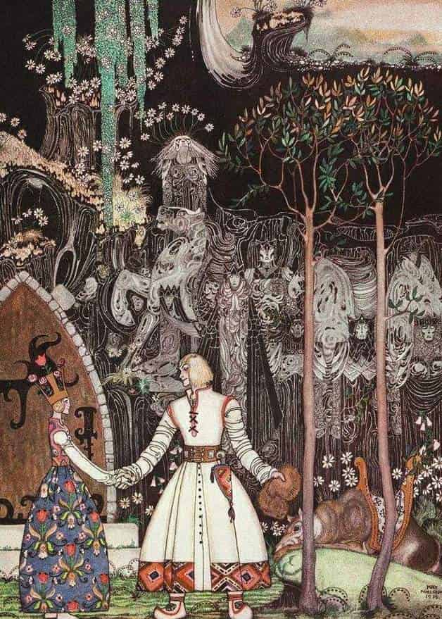 """He took a long, long farewell of the Princess, and when he got out of the Giant's door, there stood the Wolf waiting for him."" Illustration by Kay Nielsen. Published in East of the Sun and West of the Moon by Peter Christen Asbjørnsen and Jørgen Engebretsen Moe (1922). George H. Doran Company."