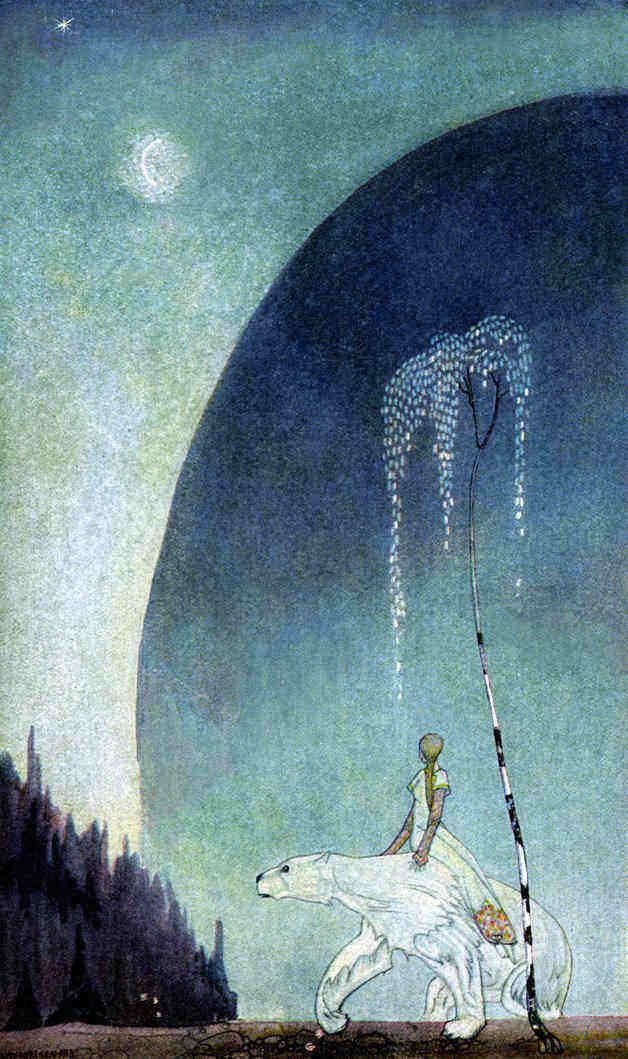 """Next Thursday evening came the White Bear to fetch her, and she got upon his back with her bundle, and off they went."" Illustration by Kay Nielsen. Published in East of the Sun and West of the Moon: Old Tales from the North byAsbjørnsen & Moe (1926?), George H. Doran Company."