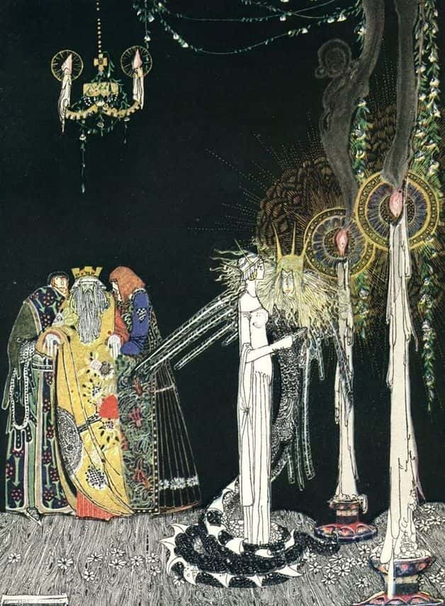 """She saw the Lindworm for the first time as he came in and stood by her side."" Illustration by Kay Nielsen, published in East of the Sun and West of the Moon: Old Tales from the North by Peter Christen Asbjørnsen and Jørgen Engebretsen Moe (1914), George H. Doran Company."
