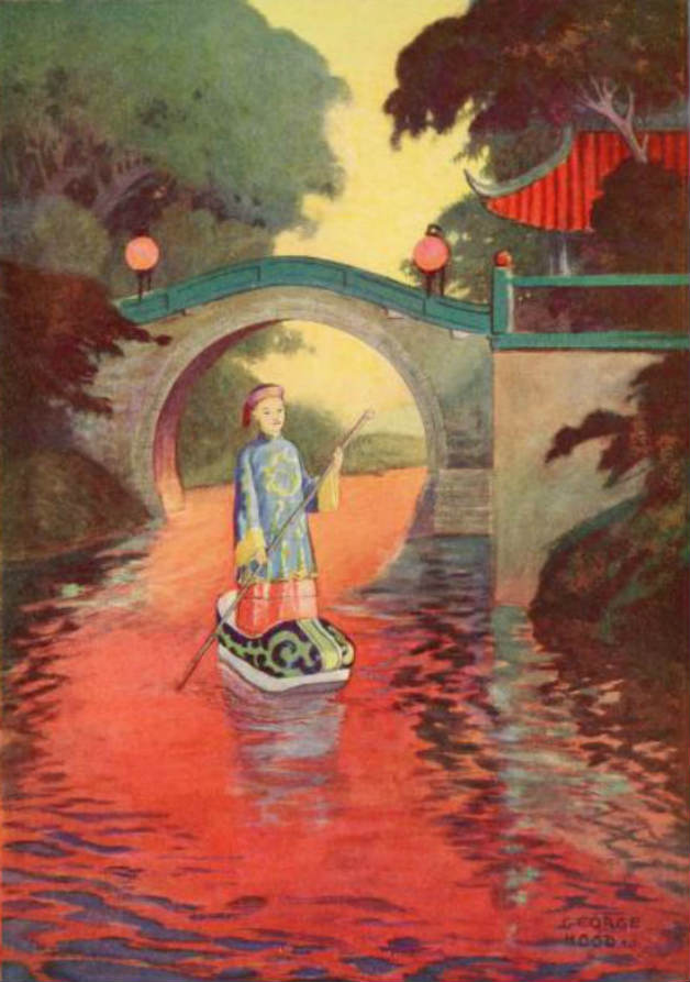 """And I crossed the water in the shoe."" Illustration by George Hood. Published in The Chinese Fairy Book by Richard Wilhelm (1921), Frederick A. Stokes Company."