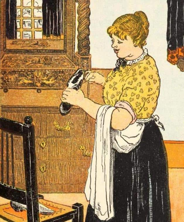 """This lady was a cook."" Illustration by W.M.P. Hendersen. Published in Andersen's Best Fairy Tales by Alice Corbin Hendersen (1911), Rand McNally."