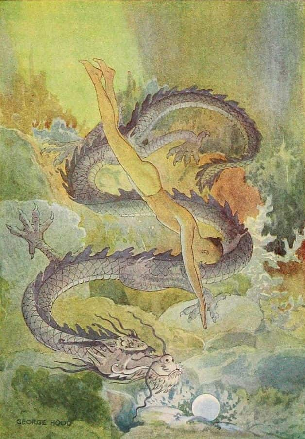 """It happened once in the ancient days, that a fisherboy dived into the water and brought up a pearl from beneath the chin of a black dragon."" Illustration by George Hood. Published in The Chinese Fairy Book by Richard Wilhelm (1921), Frederick A. Stokes Company."