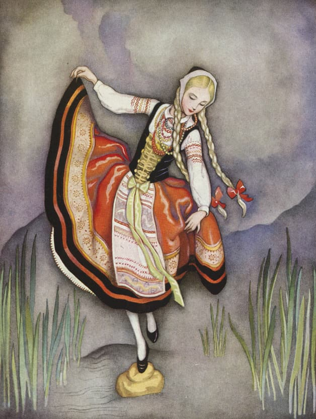 """She threw the loaf into the mud, and trod upon it to pass over without wetting her feet."" Illustration by Jeannie Harbour, published in Hans Christian Andersen's Stories (1922), publisher unknown."