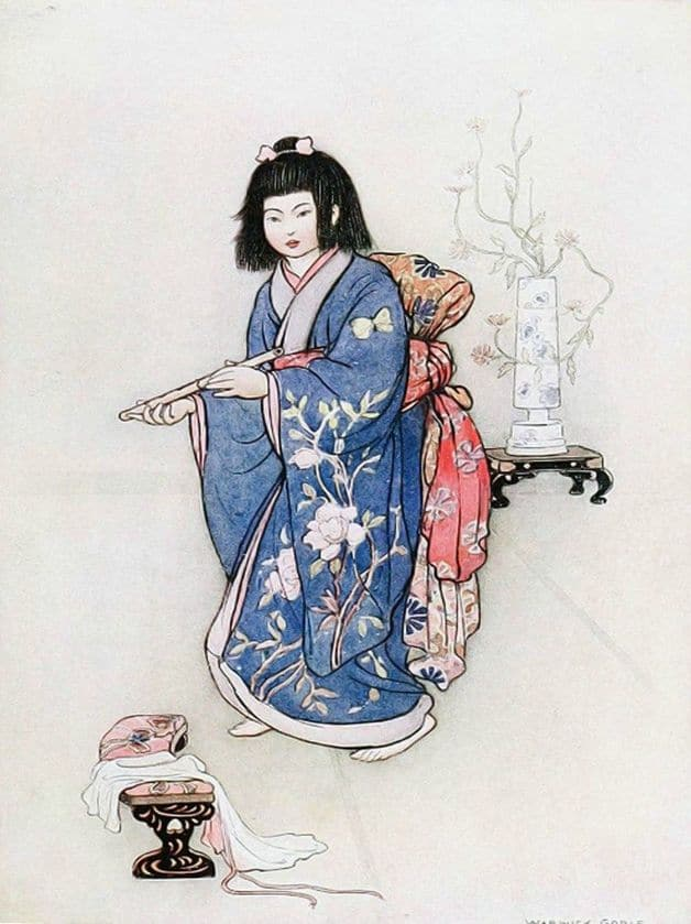 """She came to him before sunrise with a little flute in her hand, fashioned of bamboo and smoothly polished."" Illustration by Warwick Goble, published in Green Willow and Other Japanese Fairy Tales by Grace Jones (1910), Macmillan and Co."