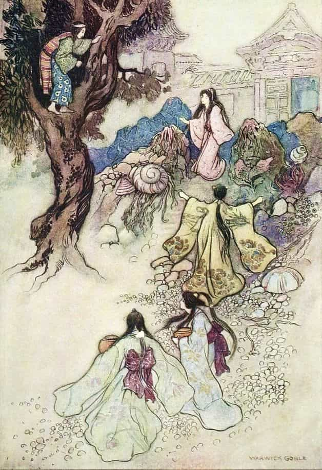 """At the day's dawning came the handmaidens of the Sea King's daughter, with their jewelled vessels, to draw water from the well."" Illustration by Warwick Goble, published in Green Willow and Other Japanese Fairy Tales by Grace James (1910), MacMillan and Company."