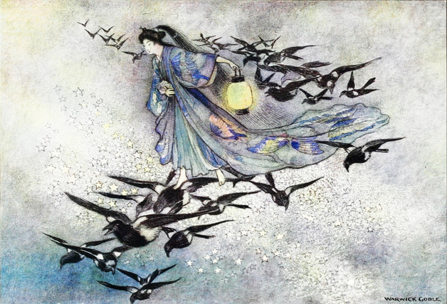 """On the seventh day of the seventh moon came the magpies from far and near. And they spread their wings for a frail bridge."" Illustration by Warwick Goble. Published in Green Willow and Other Japanese Fairy Tales. 1910. MacMillan and Company."