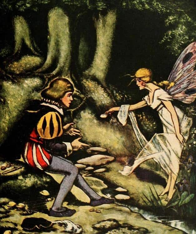 """He instantly gave her the water, when Lo! a beautiful slender young girl stood before him."" Illustration by Edward McCandlish, published in Laboulaype's Fairy Book by Edouard Laboulaye (1920), Harper."