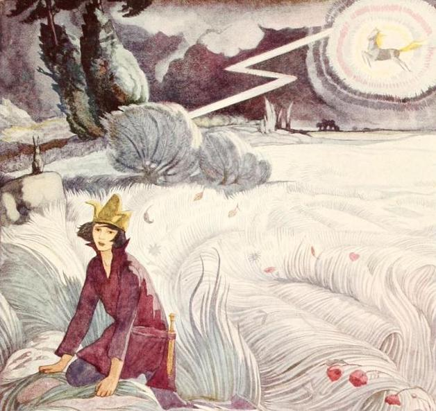 """The horse appears in the storm."" Illustration by Cecile Walton, published in Polish Fairy Tales by Maude Ashurt Biggs (1920), John Lane Company."