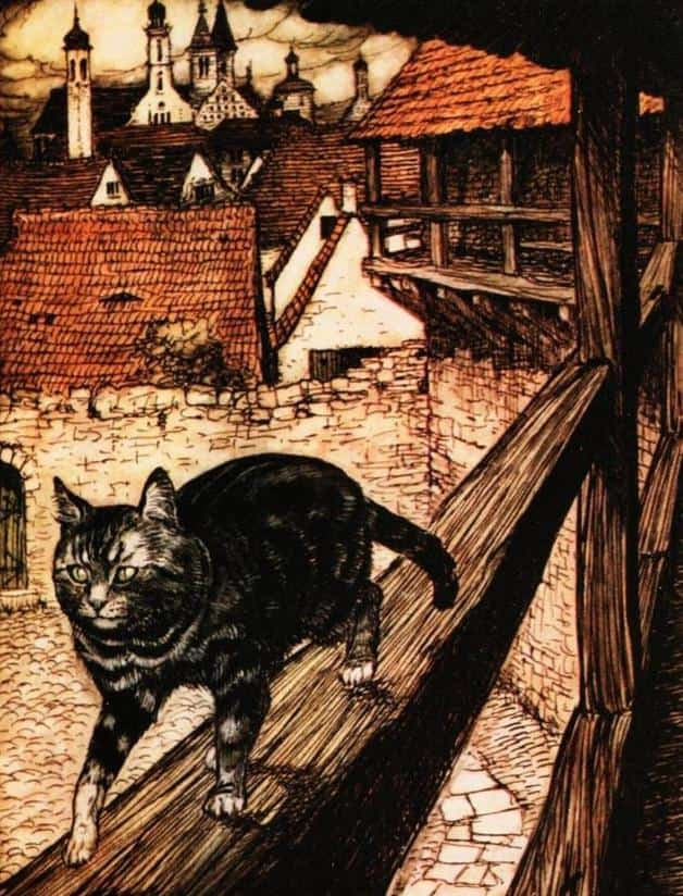 """Then she took a stroll on the house-tops and reflected on her proceedings."" Illustration by Arthur Rackham, published in The Fairy Tales of the Brothers Grimm (1916), Doubleday, Page."