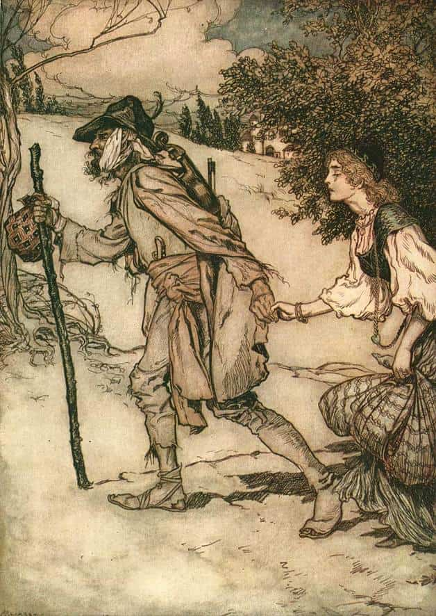 """The beggar took her hand and led her away."" Illustration by Arthur Rackham, published in Snow Drop and Other Tales by the Brothers Grimm (1920), Dutton."