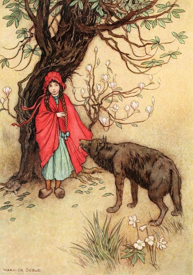 """ just as Little Red-Cap entered the wood, a wolf met her. Red-Cap did not know what a wicked creature he was, and was not at all afraid of him."" Illustration by Warwick Goble. Published in The Fairy Book by Dinah Craik (1913), MacMillan and Company."