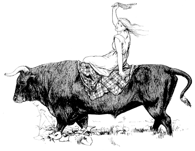 """Again she was lifted to the Black Bull's back."" Illustration by John D. Batten. Published in More English Fairy Tales(1922). G. Putnam's Sons."