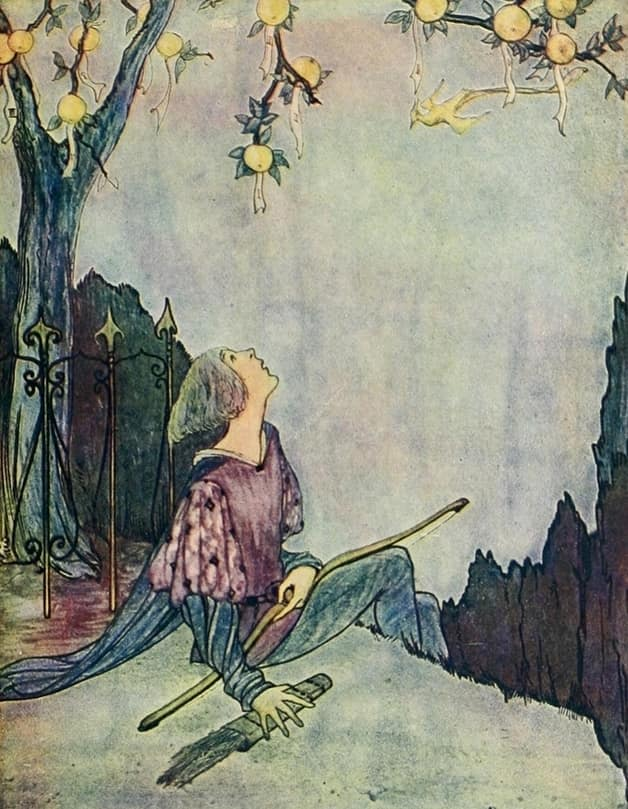 """In the moonlight he saw a bird."" Illustration by Rie Cramer, published in Alcott's Grimm's Fairy Tales (1927), Penn Pub. Company"