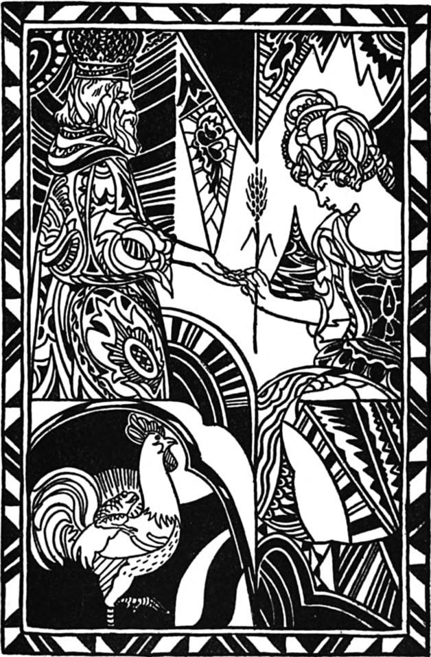 """This, the bride of the youngest prince, is my choice."" Illustration by JaY Van Everen, published in The Laughing Prince: Jugoslav Folk and Fairy Tales by Parker Fillmore (1921), Harcourt, Brace and Company."