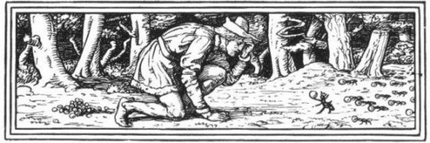 """They came to an anthill."" Illustration by Walter Crane, published in Household Stories by The Brother Grimm (1882), Macmillan and Company."