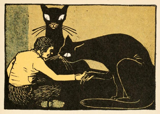 """And when he had said that, two great black cats came with one tremendous leap and sat down on each side of him, and looked savagely at him with their fiery eyes."" Illustration by Albert Weisgerber. Published in Kinder-Und by Wilhelm and Jacob Grimm, publication date unknown, publisher unknown."