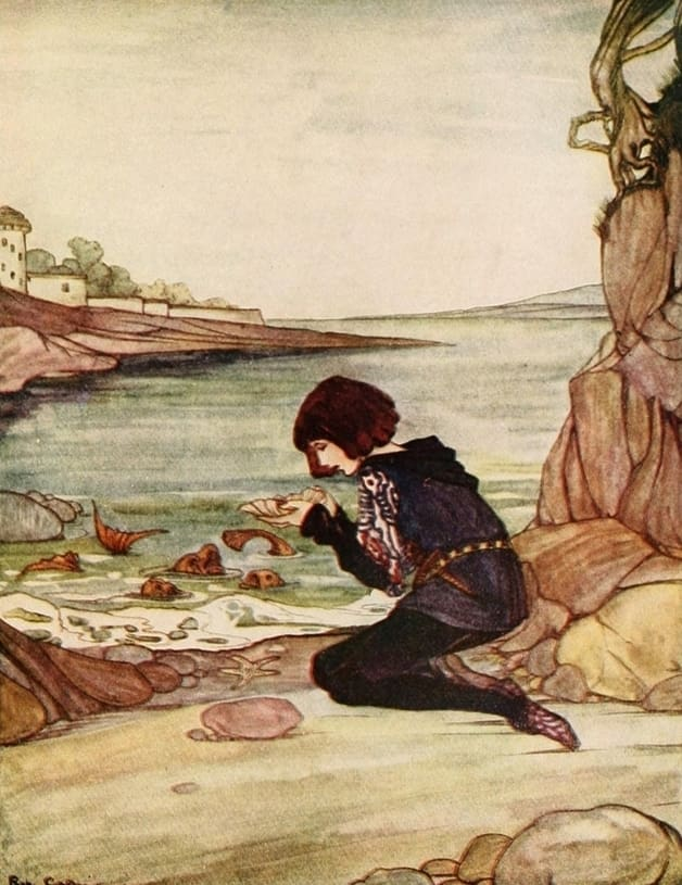 """There lay the gold ring in the shell."" Illustration by Rie Cramer, published in Alcott's Grimm's Fairy Tales (1927), Penn Pub. Company"