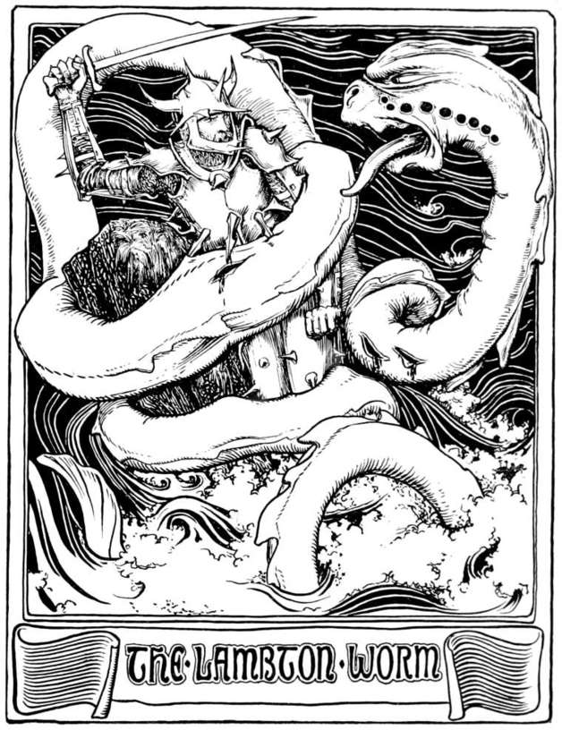 """When it perceived the Childe waiting for it, it lashed the waters in its fury and wound its coils round the Childe, and then attempted to crush him to death. "" Illustration by John Batten. Published in More English Fairy Tales. 1922. G. Putnam's Sons"