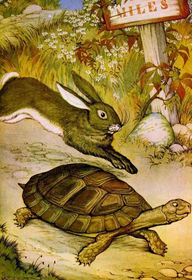 """""""The hare and the tortoise."""" Illustration by Milo Winter. Published in The Aesop for Children with Pictures by Milo Winter (1919), Rand McNally & Co."""
