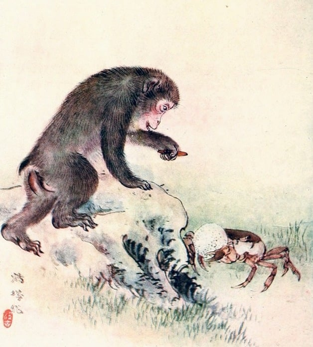 """The monkey proposed the exchange of the hard persimmon seed for the crab's nice dumpling."" Illustration by Kakuzo Fujiyama, published in The Japanese Fairy Book by Yei Theodora Ozaki (1903), E.P. Dutton."