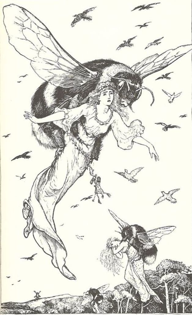 """The princess carried off by the bees."" Illustration by H.J. Ford, published in The Green Fairy Book by Andrew Lang (1892), Longmans, Green and Company."