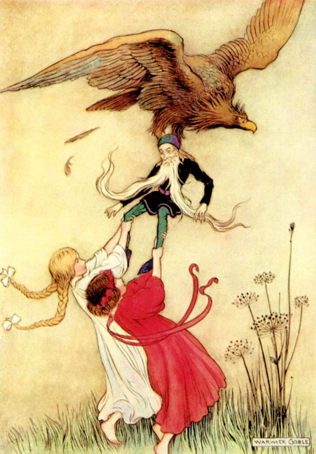 """They ran forward, and saw with horror that the eagle had pounced on their old friend the dwarf, and was about to carry him off."" Illustration by Warwick Goble. Published in The Fairy Book(1913), Macmillan and Co."