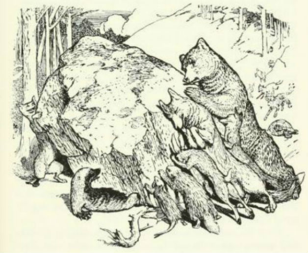 """All the animals try to get the rock off Wolverine's legs."" Illustration by H.J. Ford. Published in The Brown Fairy Book by Andrew Lang (1910), Longmans, Green and Co."