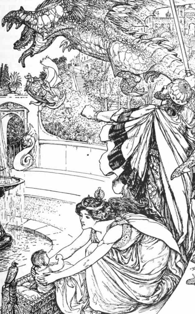 """The king jumped up and dealt him such a blow with his golden staff that the dragon not only started back, but in his pain let fall the boy.""Illustration by H.J. Ford, published in The Olive Fairy Book by Andrew Lang (1907), Longmans, Green and Company."
