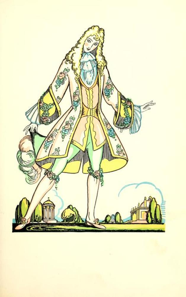""" Suddenly she saw a handsome page standing before her. He was dressed in green, and the cap which he held in his hand was adorned with white plumes."" Illustration by Elizabeth Mackinstry. Published in White Cat and other old French Fairy Tales (1928), Macmillan and Company."