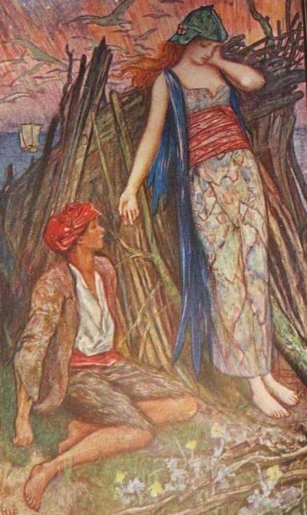 """""""You'll have to make me your wife, said the elf maiden."""" Illustration by H.J. Ford. Published in The Brown Fairy Book by Andrwew Lang (1904), Longmans, Green and Company."""