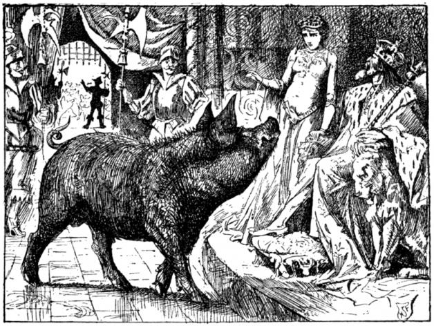 """One fine day an enormous pig from the North walked into the palace."" Illustration by H.J. Ford. Published in The Red Fairy Book (1890). Longmans, Green, and Co."