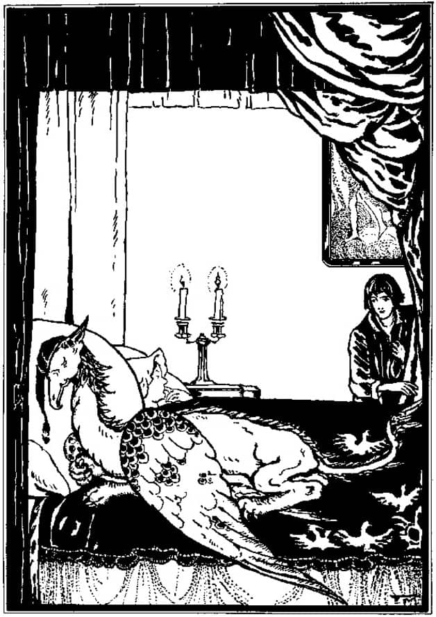 "In the middle of the night, when Griffin was snoring away lustily, Jack reached up and pulled a feather out of his tail."" Illustration by Elizabeth MacKinstry, published in The Fairy Ring by Kate Douglas Wiggins and Nora Archibald Smith (1906), Doubleday, Duran and Company."