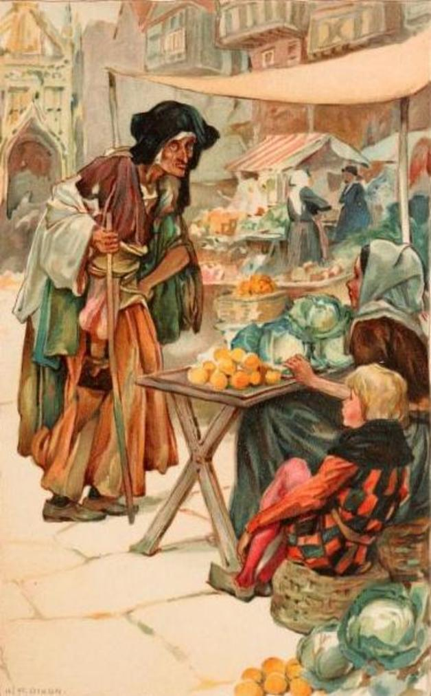 """An old woman came across the marketplace."" Illustration by Arthur A. Dixon. Published in Fairy Tales by Wilhelm Hauff (1910). E.P. Dutton and Co, New York."