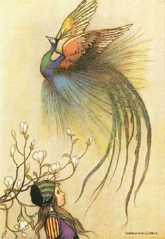 """Out of the fire flew a beautiful bird, who, singing deliciously, rose up high in the air."" Illustration by Warwick Goble, published in The The Fairy Book by Dinah Murlock Craik (1913), MacMillan and Company."