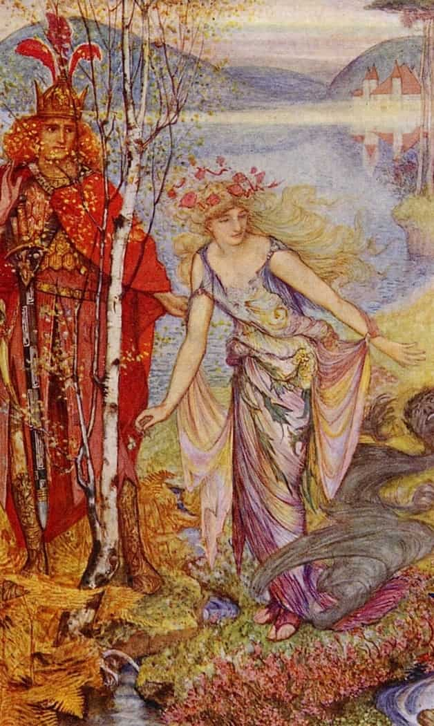 """When she stood upright, all of her ugliness had gone."" Illustration by H.J. Ford, published in The Lilac Fairy Book by Andrew Lang (1910), Longmans, Green and Company."