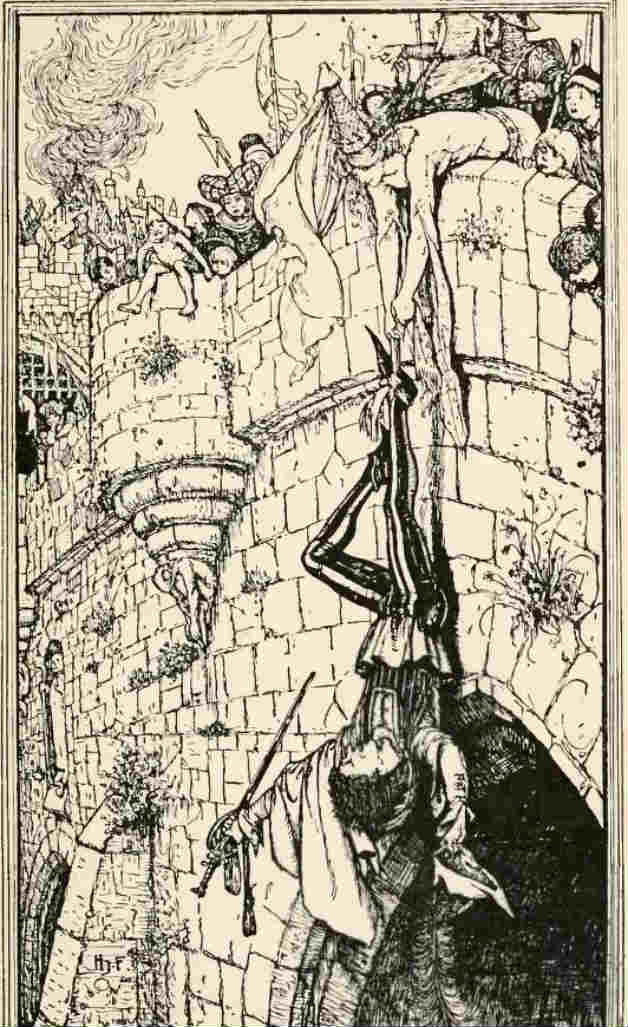 """How the shifty lad was hung on Dublin Bridge."" Illustration by H.J. Ford. Published in The Lilac Fairy Book by Andrew Lang (1910), Longmans, Green and Company."