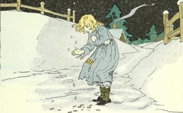 """There were no stars on the ground, but she saw some pieces of shining money."" Illustration by unknown artist. Published in Child-library Readers: Book One by William Harris Elson (1923), Scott, Foresman and Company."