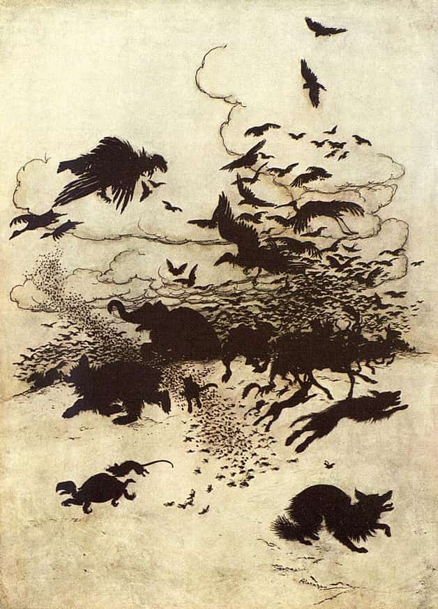 """At the third sting, the Fox screamed and down went his tail between his legs."" Illustration by Arthur Rackham, published in Hansel & Grethel & Other Tales by Brothers Grimm (1920), E.P. Dutton and Company."