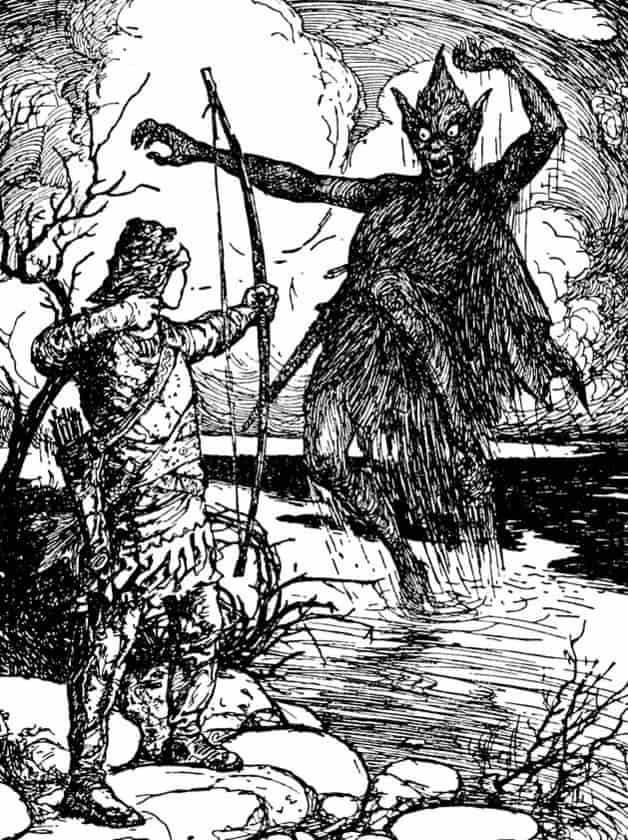 """Andras Baive shoots the Stalo.""Illustration by H.J Ford. Published in The Orange Fairy Book by Andrew Lang (1906), Longmans, Green and Company."