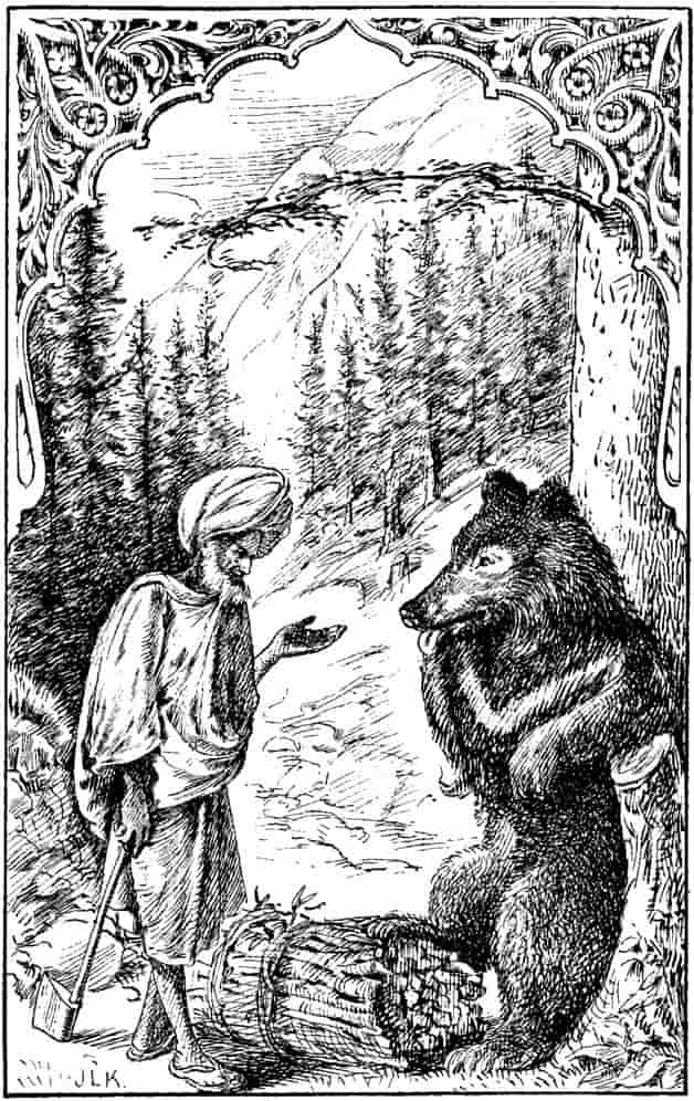 """The bear licked his lips, and his little eyes twinkled with greed and delight."" Illustration by J. Lockwood Kipling, published in Tales of the Punjab by Flora Annie Steele (1894), MacMillan and Company."