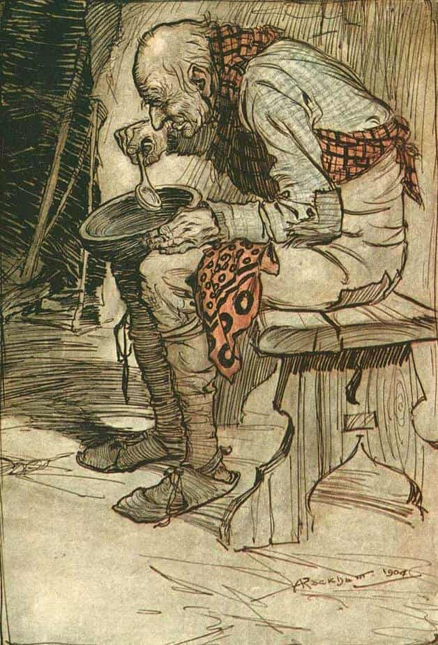 The old man sits in the corner with his wooden bowl in this Grimms Fairy Tale illustration by Arthur Packham