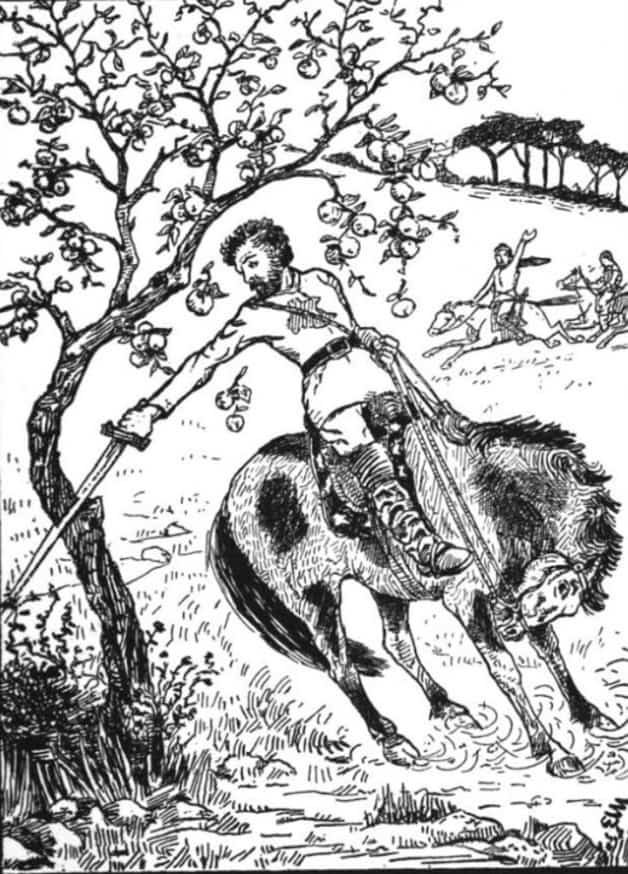 """The huntsman rushed up and cut down the apple tree."" Illustration by E.W. Mitchell, published in Cossack Fair y Tales and Folk-Tales by Robert Nisbet Bain (1894), A.L. Burt Company"