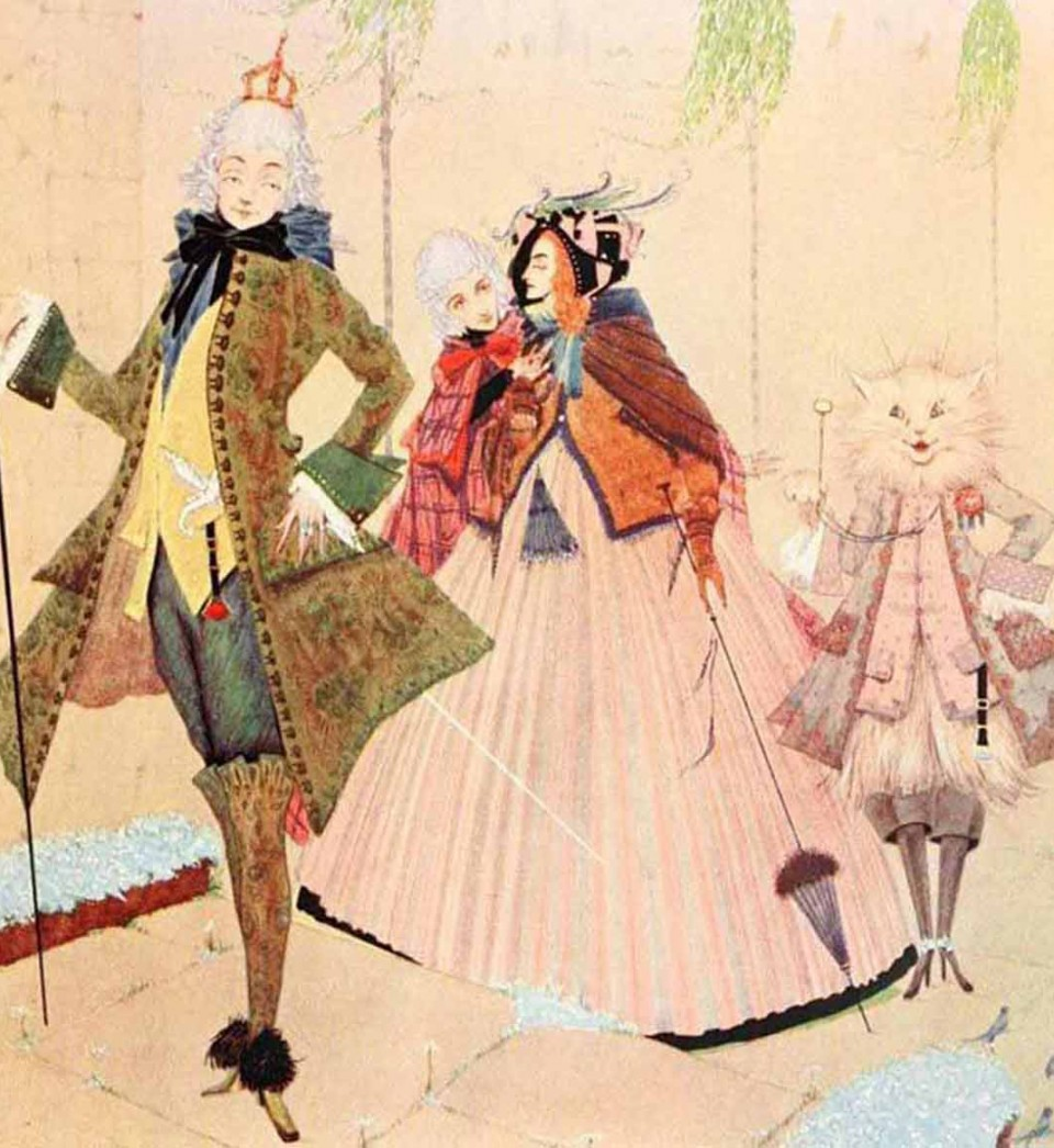 Two people and a cat are pictured in this illustration of one of the most famous fairy tale cats, Puss in Boots